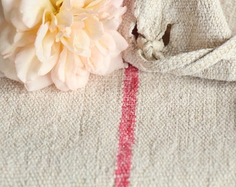 Nr. A199:  antique FADED RED grain sack upholstery fabric 23.62 wide