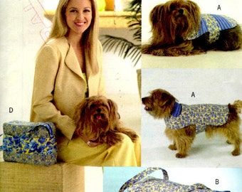 Butterick Sewing Pattern B4696 - Dog Accessories - Dog Coat - Dog Carrier - Dog Tote - Dog Leash