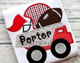 Machine Embroidery Design Applique Football Dump Truck INSTANT DOWNLOAD
