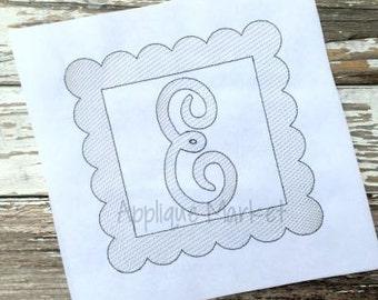 Machine Embroidery Design Scallop Square Sketch Frame INSTANT DOWNLOAD