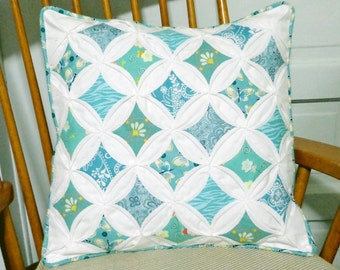 Quilted Cathedral Window Pillow Cover Aqua Sea Green
