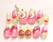 Lolita accessory, sailor moon, cosplay, anime, 3D nails, nail art, pink, star, magical girl, decoden, Harajuku, gyaru, nail dangling