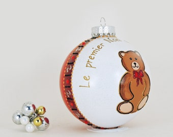 Baby's First Christmas - Personalized hand painted glass ornament  - Cute Teddy Bear