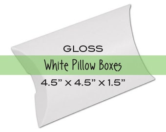 10 Medium Jewelry Packaging White Pillow Boxes for Treats, Favors & Gift Wrap . 4.5x4.5x1.5