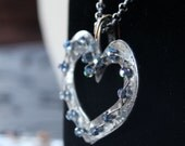 Blue crystal and silver heart necklace, large heart pendnant
