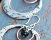 Large hoops, double hoop earrings, artisan hoop earrings, copper and silver earrings