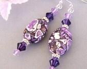 Purple earrings, purple magnesite stone, amethyst purple and violet, Swarovski crystal Purple Velvet