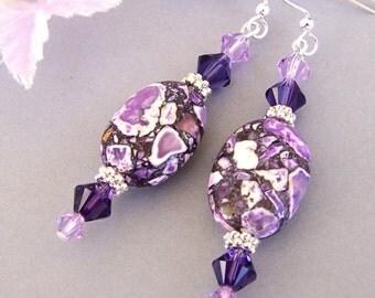 Purple earrings, purple magnesite stone, amethyst purple and violet, Swarovski crystal Purple Velvet, Mother's Day gift