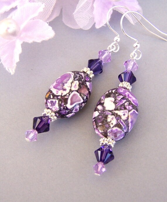 Purple earrings, purple magnesite stone, amethyst purple and violet, Swarovski crystal Purple Velvet, Mother's Day gift