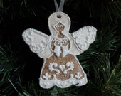 Angel Christmas Ornament Glittered Sparkly Gingerbread OOAK Heirloom Gift Non-edible
