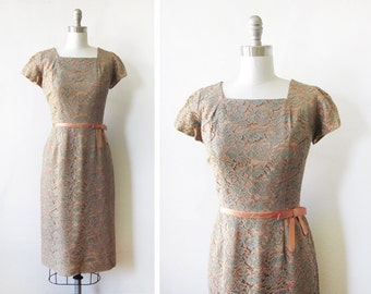 60s lace dress, vintage floral lace dress, large 1960s cocktail dress