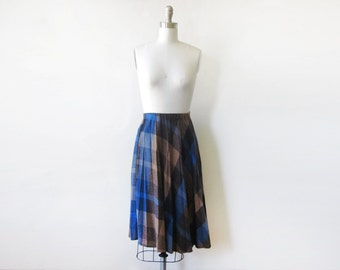 plaid pleated skirt, vintage wool skirt, 80s accordion pleated black and blue medium large skirt