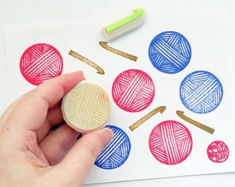 crochet stamp set. crocheting hand carved rubber stamps. bowl of yarn and crochet hook stamp. craft stamp. set of 2. small