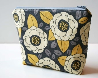 Zipper Pouch Cosmetic Bag - Yellow Grey Floral - Ready to Ship