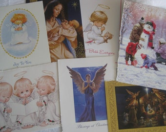 Holiday card fronts for crafting, reuse for scrapbooking, collage, mixed media art, card making etc. 20 pc.