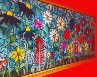 Flower garden mosaic panel