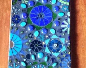 Mosaic Skateboard Abstract Blue Circles