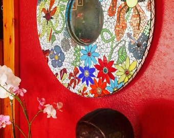 Large colorful Mosaic Mirror with bold bright colorful flowers in variety of shapes and sizes