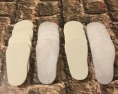 "2mm Doll Soles, 24-Pack Doll Soles, 12-White 2mm Foam Doll shoe Soles, 12-White Felt Doll shoe Soles, 18"" die cut doll soles"