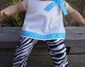 "15"" Doll Clothes, Zebra Turuqoise Pants, 15"" Baby Doll Clothes, Baby Doll Zebra Clothes, Ready to Ship, Handmade doll clothes"