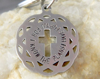 For I Know the Plans I Have for You Stainless Steel Cross Cut out Keychain