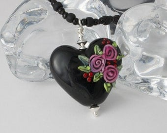 Rose Heart Lampwork Pendant Necklace