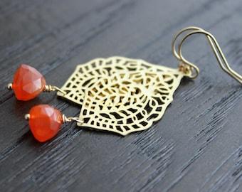Pumpkin Orange Carnelian and Gold Lace Moroccan Earrings - Long dangle earrings - 14k gold filled ear wires - Autumn Fall Gemstone Jewelry