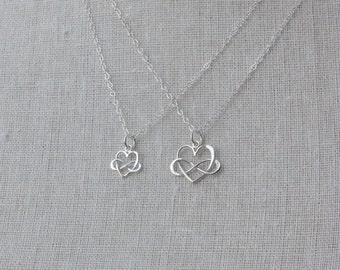 Mother Daughter Necklace Set, Mother Daughter Jewelry, Sterling Silver Infinity Heart Pendants, Mom Daughter Gift Set, Mother's Day Jewelry