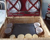 Vintage Woven Picnic Basket Set w/ Place Settings For 4: Silverware, Plates, Blanket, Cups, Containers