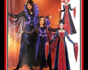 VAMPIRE QUEEN-Costume Sewing Pattern-Two Styles-Cape-Stand-Up Collar-Contrast Cathedral Sleeves-Lace-Up Bodice- Applique-Uncut-All Sizes
