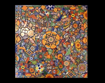 Mosaic Wall Hanging or Table Top Made with Talavera Tiles