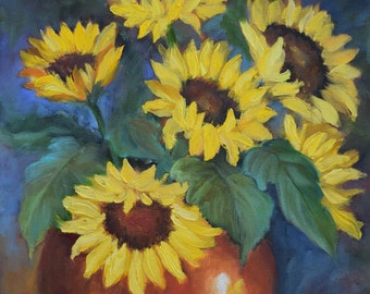 Floral Painting,Sunflowers in Copper Pot, Original Canvas Oil Painting by Cheri Wollenberg