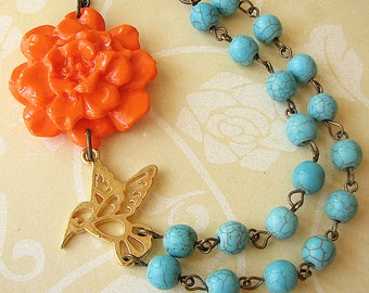 Flower Necklace Statement Necklace Turquoise Jewelry Orange Necklace Bridesmaid Jewelry Bib Necklace Bird