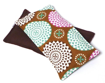 Eye Pillow POM POMS rice filled, cold pack or hot pack, no scents added