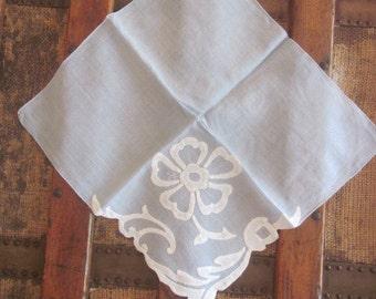 Vintage Hand Appliqued Handkerchief with Cutwork Edge