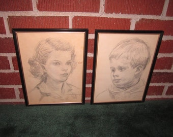Vintage 1960s Pair of Framed Original Signed and Dated Pencil Girl and Boy Portraits