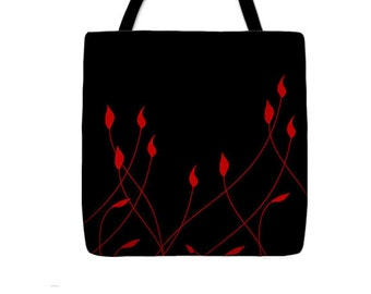 Red Flowers Tote Bag, Black Artist-Designer Bag, Elegant Floral Carry-All, Women's Feminine Fashion, Reusable Lunch Bag, Work Tote