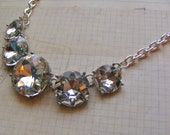 Crystal Clear-rhinestone necklace in silver, chain extender, 19 1/4 to 21 3/4 inches