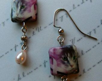 Pink Ribbon Earrings with Cats-decoupage with pearls, 2 inches or 5 cm.