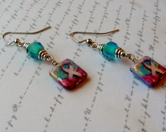 Pink Ribbon Earrings with Turquoise-decoupage earrings with glass beads, 2 inches or 5 cm.