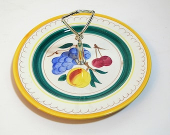 Stagl Pottery Tidbit Tray, Serving Plate With Handle, Fruit Design