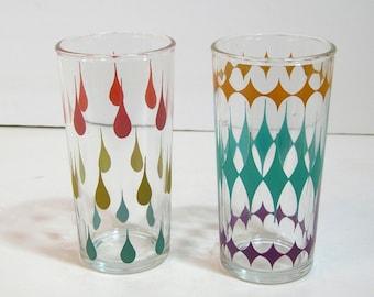 Pastel Vintage Drinking Glasses, Geometric Designs, Teardrops And Diamonds