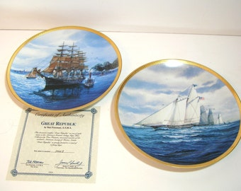 Hamilton Collection Collectors Plates, America's Greatest Sailing Ships, Tom Freeman, Great Republic And America