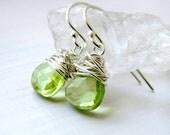 Green Peridot Dangle Wire Wrapped  Sterling Silver Earrings