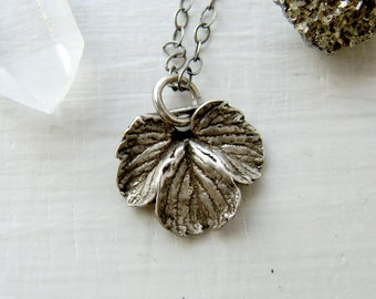 Mini Sterling Silver Strawberry Leaf Charm Necklace - Organic Jewelry