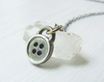 Sterling Silver Button Pendant Womens