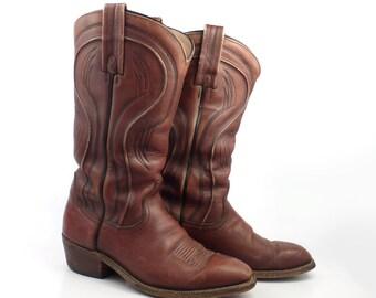 Frye Cowboy Boots Vintage 1980s Rust Brown Leather Men's size 8 D