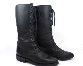 Granny Boots Vintage 1980s Flat Black Leather Lace Up  Women's 7