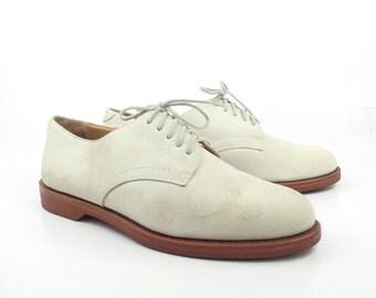 White Nubuck Oxfords Vintage 1980s RJ Colt Leather Bucs Shoes Men's size 8