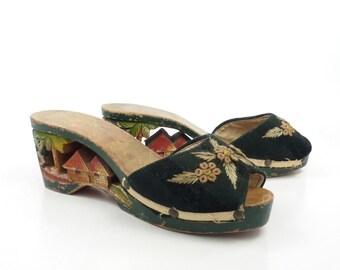Carved Wood Sandals Vintage 1940s Heels  Souvenir Painted Women's